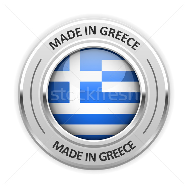 Silver medal Made in Greece with flag Stock photo © gomixer