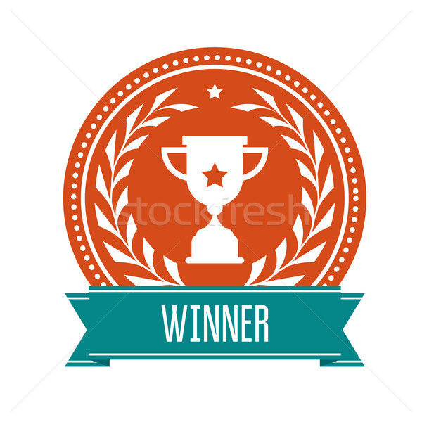 Winner award medal with sport cup and laurel wreath - prize Stock photo © gomixer