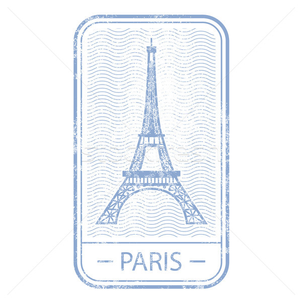 Stamp with symbol of Paris - Eiffel Tower, France travel  Stock photo © gomixer