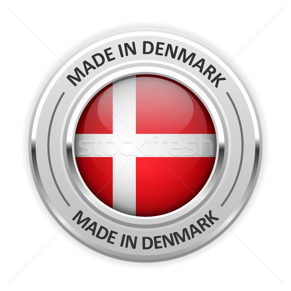 Silver medal Made in Denmark with flag Stock photo © gomixer