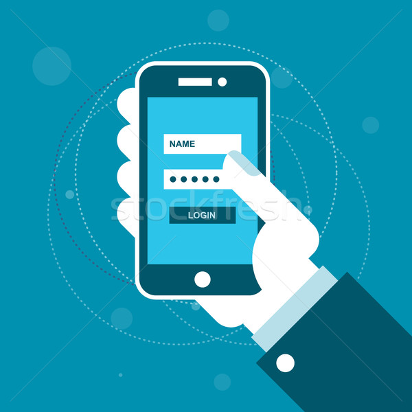 Smartphone with login form on screen in hand Stock photo © gomixer