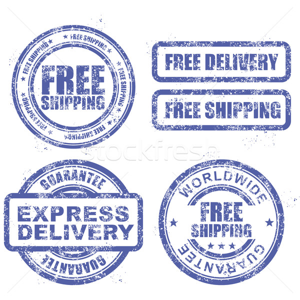 Express delivery and free worldwide shipping - blue grunge stamp Stock photo © gomixer