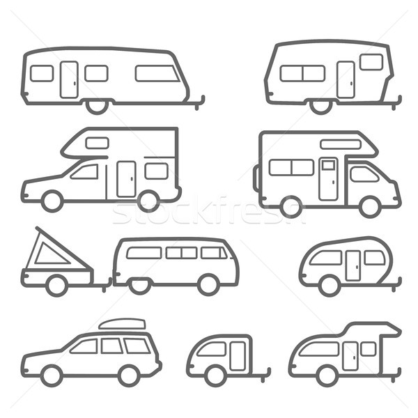 Caravans and camper trailers - road trip icons Stock photo © gomixer