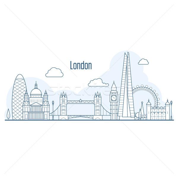 Londyn Cityscape stylu budynku projektu Zdjęcia stock © gomixer