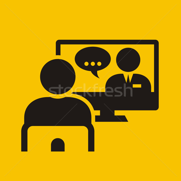 Video conference call - man on chair near monitor Stock photo © gomixer