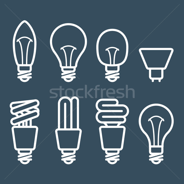 Fluorescent lamp and light bulb icons Stock photo © gomixer