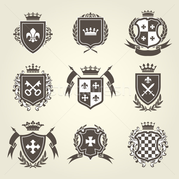 Knight shields and royal coat of arms set Stock photo © gomixer