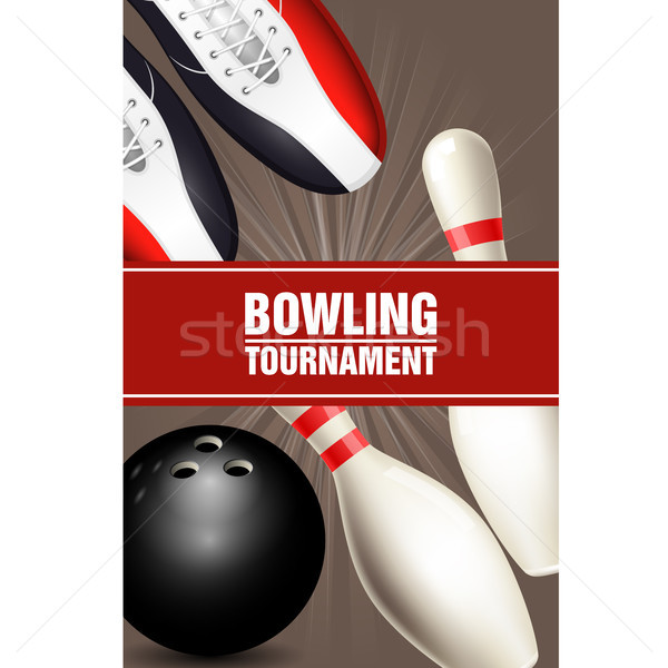 Bowling tournament poster with bowling shoes, skittles and ball  Stock photo © gomixer