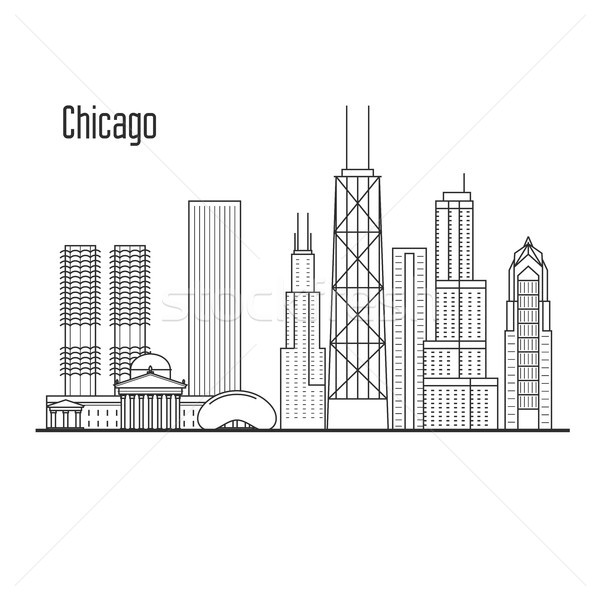 Chicago skyline - downtown cityscape, city landmarks in liner st Stock photo © gomixer