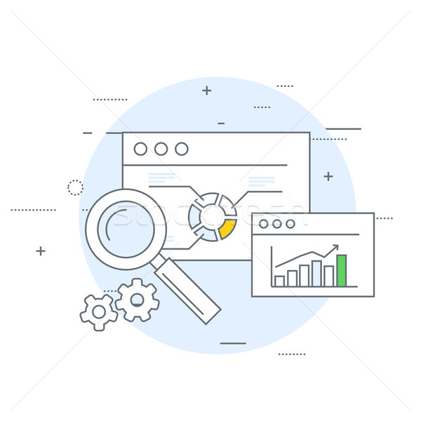 Online marketing analytics icon gegevens web onderzoek Stockfoto © gomixer