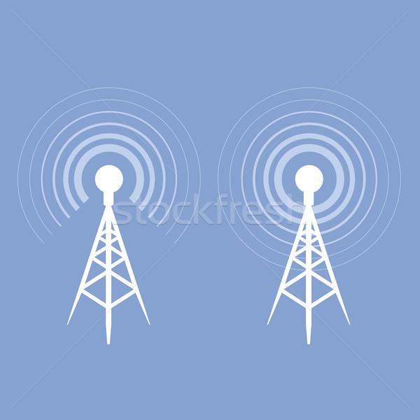 Yayın kule ikon anten siluet teknoloji Stok fotoğraf © gomixer