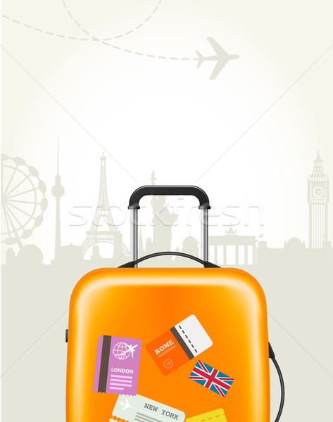 Travel agency poster with plastic suitcase and european landmark Stock photo © gomixer