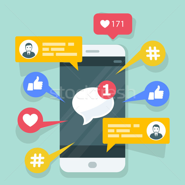 Viral content, smm and social activity - likes, shares and comme Stock photo © gomixer
