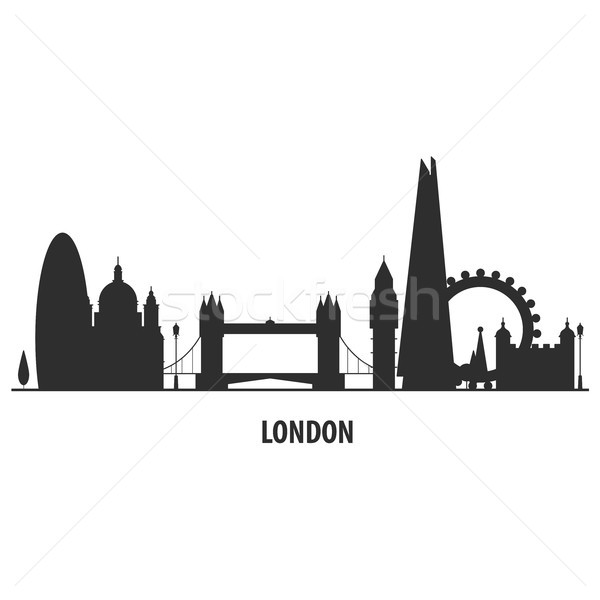Londra Cityscape siluet ev şehir Stok fotoğraf © gomixer