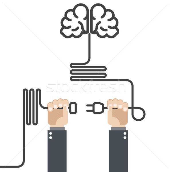 Vuelta cerebro manos plug cable energía Foto stock © gomixer