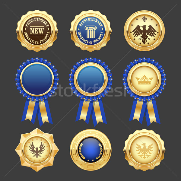 Blue award rosettes, insignia and heraldic medals Stock photo © gomixer