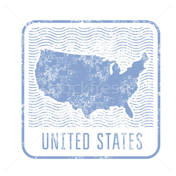 Stock photo: USA travel stamp with silhouette of map of United States of Amer
