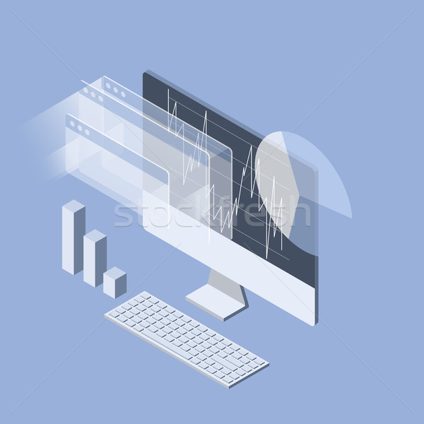 Stock market analytics isometric icon - data statisics and tradi Stock photo © gomixer