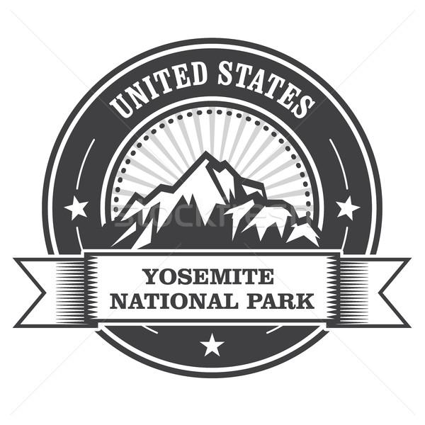 Yosemite National Park round stamp with mountains Stock photo © gomixer