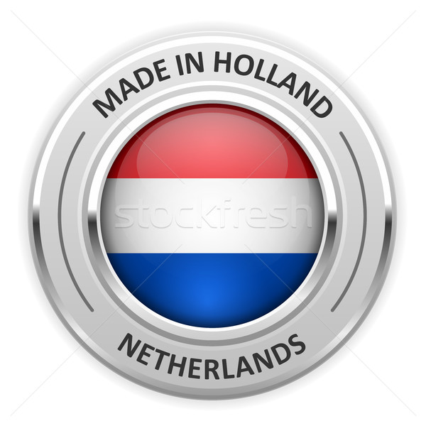 Silver medal Made in Netherlands with flag Stock photo © gomixer