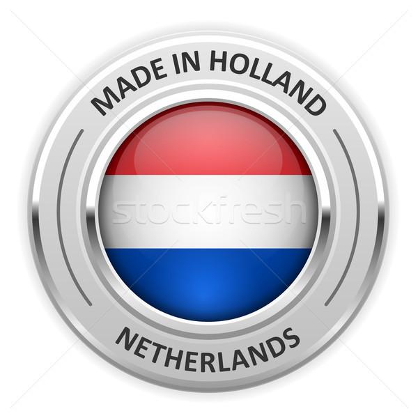 Zilver medaille Nederland vlag pin zegel Stockfoto © gomixer