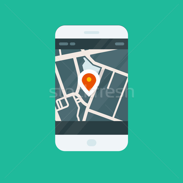 şehir navigasyon uygulaması konum harita Stok fotoğraf © gomixer