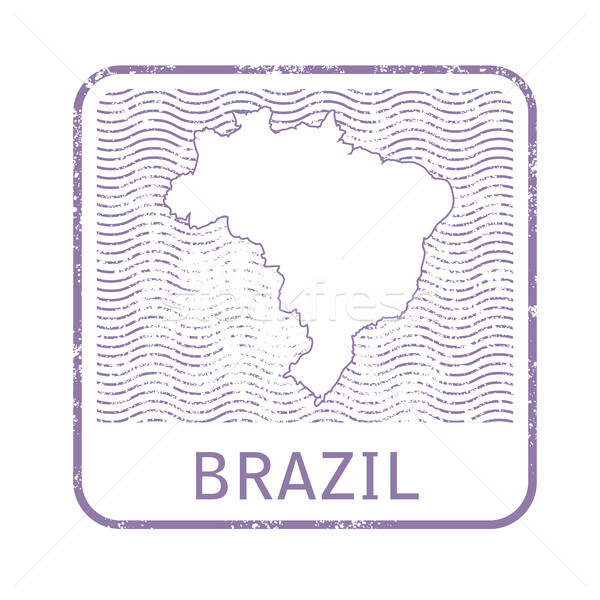 Stamp with contour of map of Brazil - contour of Brazil  Stock photo © gomixer