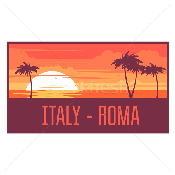 Beach with palm trees and sea - Italy rest concept Stock photo © gomixer
