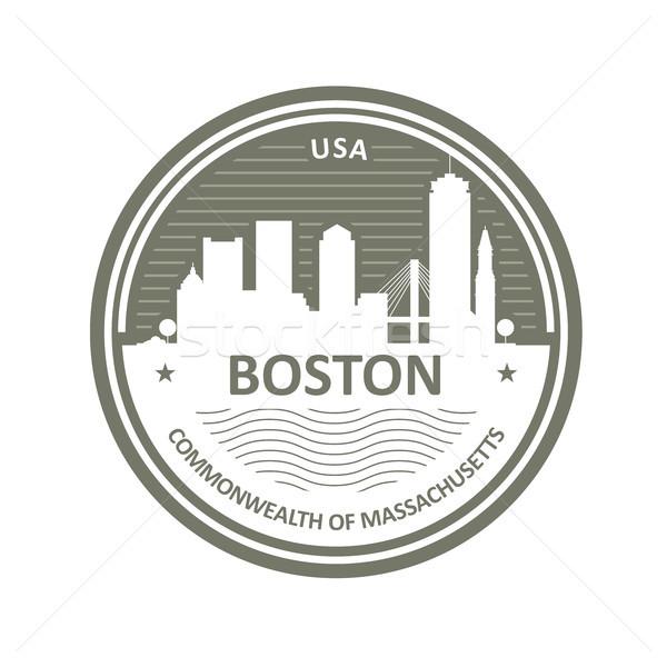 Distintivo Boston linha do horizonte cidade emblema edifício Foto stock © gomixer