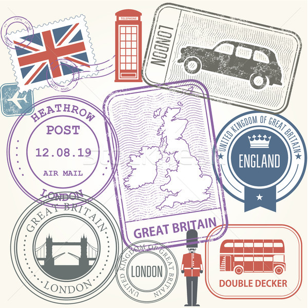 Travel stamps set - Great Britain and England journey Stock photo © gomixer