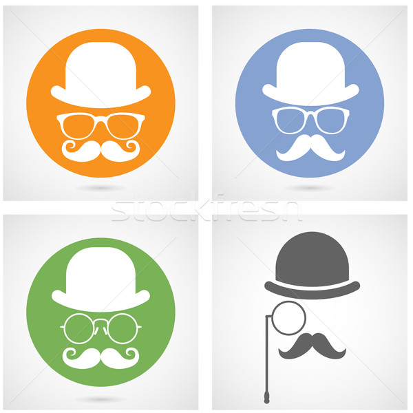 Silhouette of gentleman's face with moustaches, bowler and glass Stock photo © gomixer