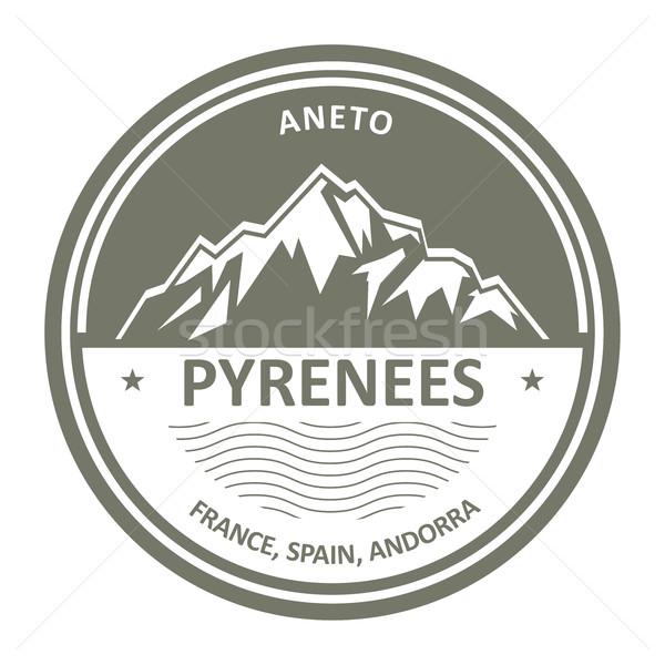 Pyrenees Mountains - Snowbound Aneto peak round stamp  Stock photo © gomixer