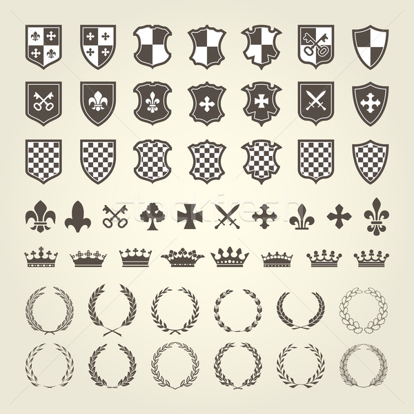 Kit of coat of arms for knight shields and royal emblems with la Stock photo © gomixer