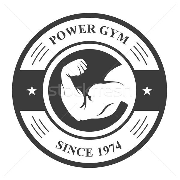 спортзал Знак стороны спорт эмблема бицепс Сток-фото © gomixer