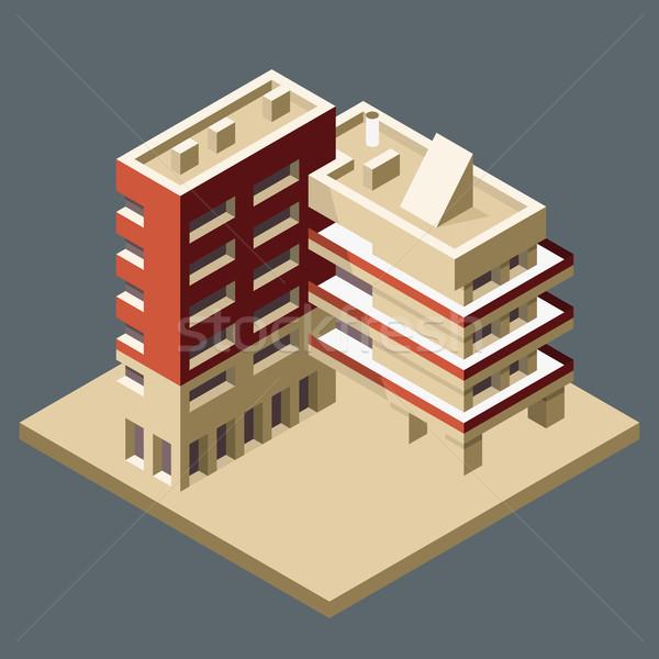 Modern izometrikus épület sarok iroda Stock fotó © gomixer