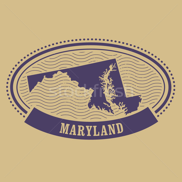 商业照片: 马里兰州 · 地图 · 侧影 · 椭圆形 · 邮票 · 旅行