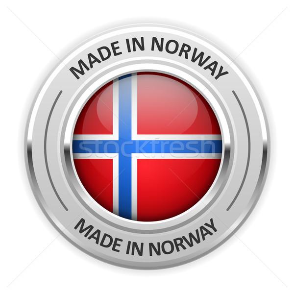 Gümüş madalya Norveç bayrak pin mühürlemek Stok fotoğraf © gomixer
