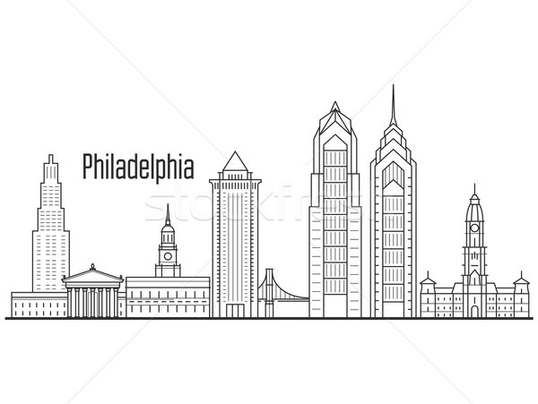 Philadelphia city skyline - downtown cityscape, towers and landm Stock photo © gomixer