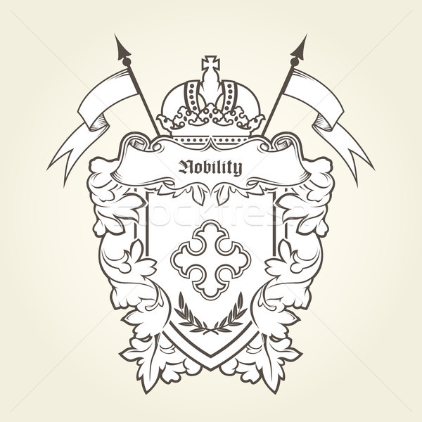 Stock photo: Heraldic emblem - royal coat of arms with imperial symbols, shie