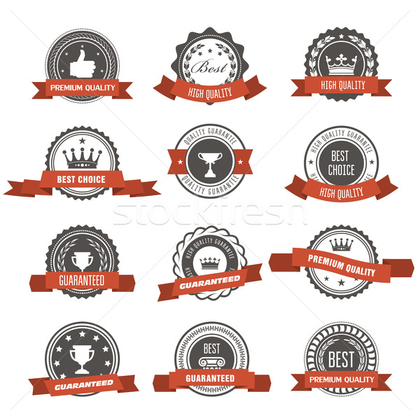 Emblems, badges and stamps with ribbons - awards and seals desig Stock photo © gomixer