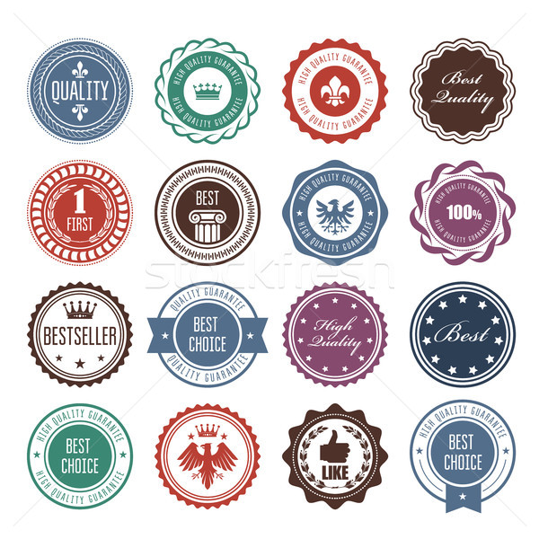 Emblems, badges and stamps - prize seals designs Stock photo © gomixer