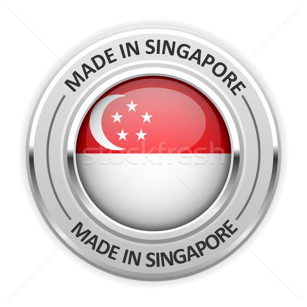 Prata medalha Cingapura bandeira pin etiqueta Foto stock © gomixer