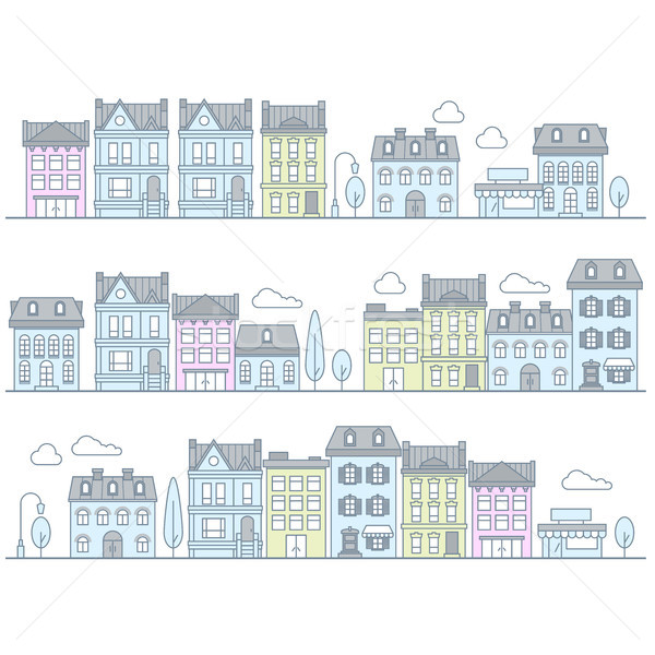 European street with buildings and houses - town Stock photo © gomixer