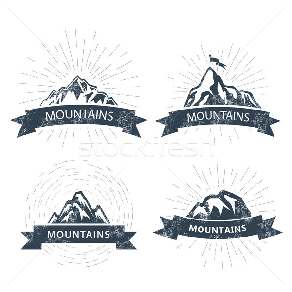 Mountain peaks labels and emblems - ski resort icon Stock photo © gomixer