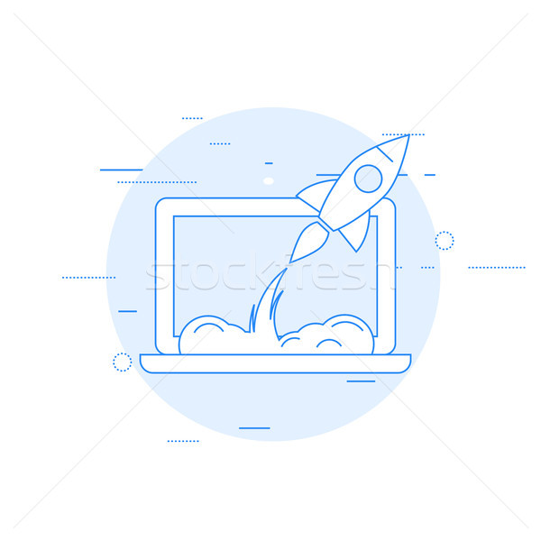 Launch of new business or sturtup - rocket starts from laptop Stock photo © gomixer