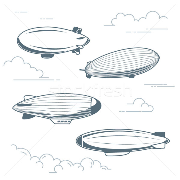 Collection of vintage airships - hot air balloons, blimps and di Stock photo © gomixer