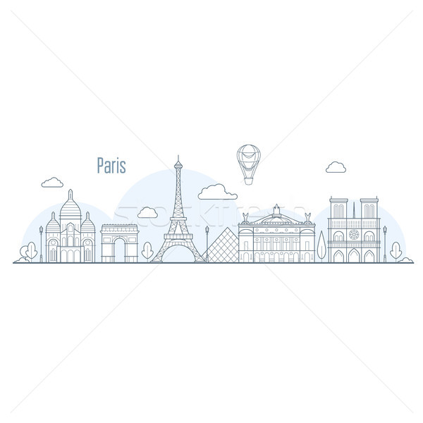 Paris city skyline - cityscape with landmarks in liner style Stock photo © gomixer