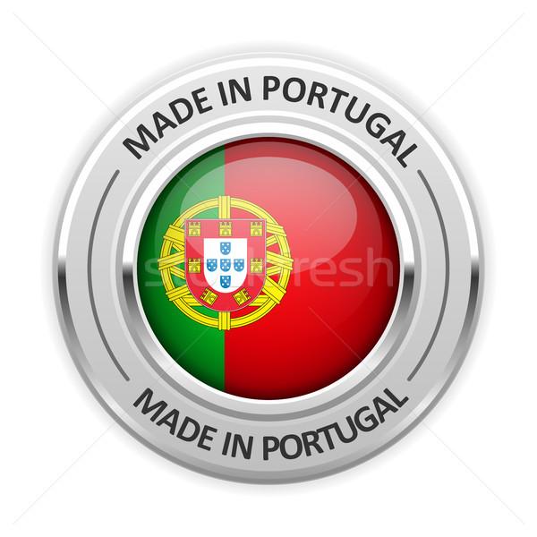 Ezüst érem Portugália zászló tő fóka Stock fotó © gomixer