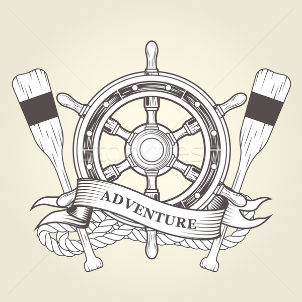 Vintage steering wheel and oars - nautical emblem with handwheel Stock photo © gomixer