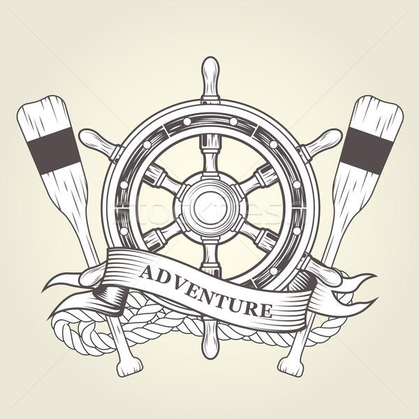 Bağbozumu direksiyon deniz amblem halat gemi Stok fotoğraf © gomixer